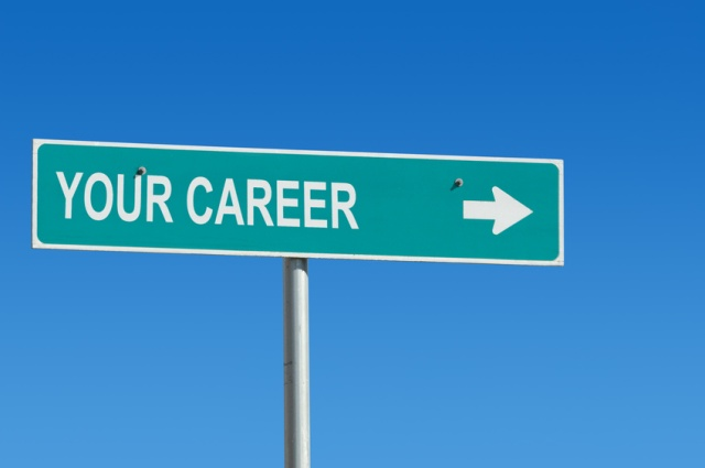 """Sign with """"your career"""" stenciled on.  Sign's original reflective white texture used in text for realism."""